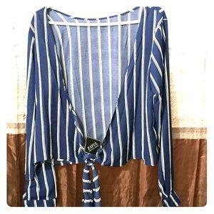 Blue& white striped Long sleeve Blouse
